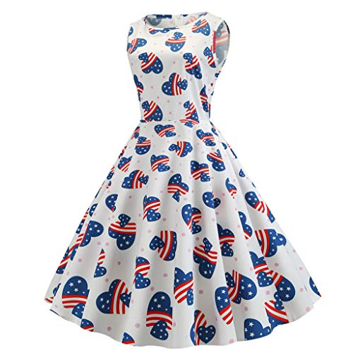 Alimao Sundress Skirts Maxi Dress O Neck Evening Party Swing Dress American Flag Print Evening Party Prom Dress