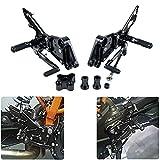 MZS CNC Adjustable Footrests Rearsets for KTM Duke 125 2011-2017,Duke 200 2011-2017,Duke 390 2011-2017 Black