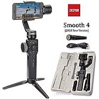 Zhiyun Smooth 4 3 Axis Gimbal Steadicam Stabilizer For Samsung,Huawei,IPhone X 8 Gopro Hero 5 SJCAM SJ7 Xiaomi Yi 4k Action Camera(The Latest Version (Black)