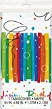Unique Party 49563 - Plastic Rainbow Ribbons Birthday Tablecloth, 7ft x 4.5ft