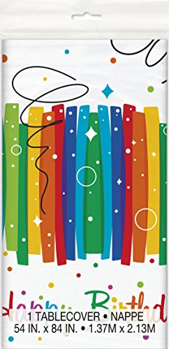 Rainbow Ribbons Birthday Plastic Tablecloth, 84