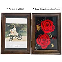 Chilly Immortal Flower Photo Frame, Preserved Flower Rose Picture Frame, Never Withered Roses Gifts for Valentine's Day, Christmas, Anniversary, Holiday Present (57 ''Photo Frame 1)