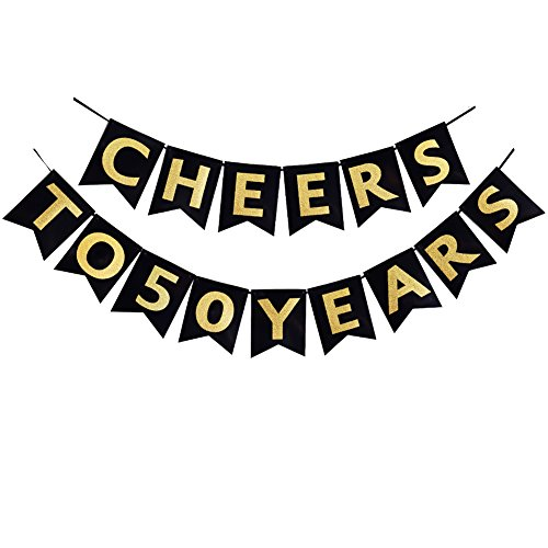 Cheers to 50 Years Banner 50th Birthday Party Banner 50th Anniversary Party Decoration Bunting - Anniversary Banner 50th