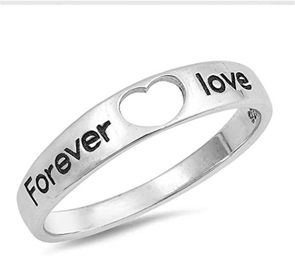 Women/'s LOVE Word Girl/'s Promise Ring .925 Sterling Silver Band Sizes 4-10 NEW