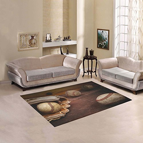 D-Story Floor Decor Old Vintage Baseball Background. Focus On Ball In Area Rug Carpet Floor Rug 5'3''x4' For Living Room Bedroom