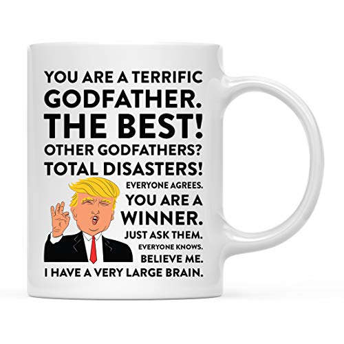 Andaz Press Funny President Donald Trump 11oz. Coffee Mug Gift, Terrific Godfather, 1-Pack, Hot Chocolate Christmas Birthday Drinking Cup Republican Political Satire for Family in Laws