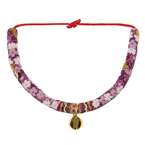Matefielduk Ajustable de Dibujos Animados Mascotas Perros Collar de Bell Gatos Collar Corbata (Púrpura M