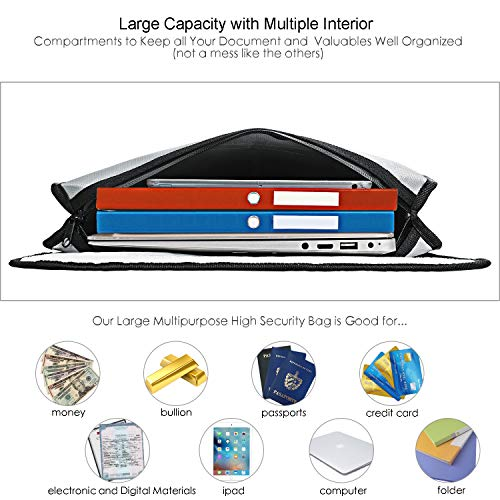 Vemingo Fireproof Bag 2000 Degree Water Resistant Document Holder 15.8 x 12.6 x 3 Inches Non-Itchy Silicone Coated Fireproof Safe Storage for Money, Documents, Jewelry, Passport and Laptop