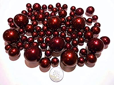 80 ALL Burgundy Red Wine Pearls Jumbo and Assorted Sizes - Vase Fillers Value Pack. NOT INCLUDING THE TRANSPARENT WATER GELS FOR FLOATING THE PEARLS (Sold Separately).