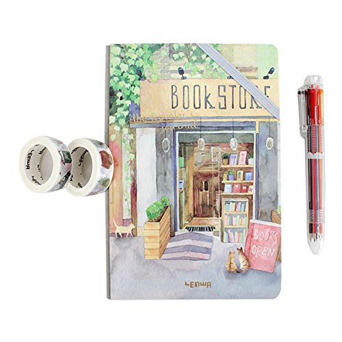 - Kennedy A5 Notebook Cute Art Hand Notebook Set Colorful Writing Notebook Hard Cover Journals(Including 1 Notebook+2Washi Tape+1Pen)