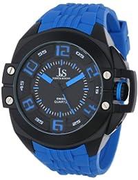 Joshua & Sons Men's JS-39-BU Swiss Quartz Silicon Strap Crown Guard Watch