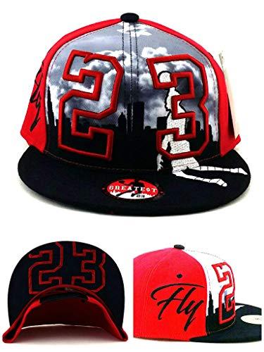 Greatest 23 Chicago MJ Jordan Bulls Colors Red Black Skyline Era Snapback Hat Cap