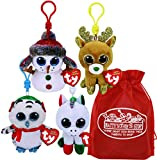 Ty Beanie Boos Clips (3.5') Nester, Candy Cane, Glitzy & Buttons Holiday Set Bundle with Bonus Matty's Toy Stop Storage Bag - 4 Pack