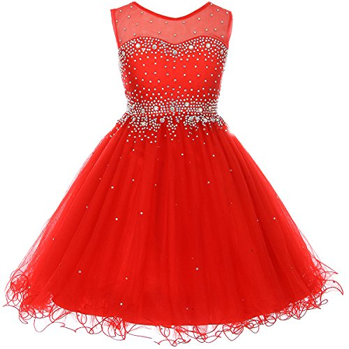 Girls Red Rhinestone - Big Girls Short Length Sparkling Hand Bead Rhinestones on Illusion Tulle Flower Girl Dress Red - Size 12