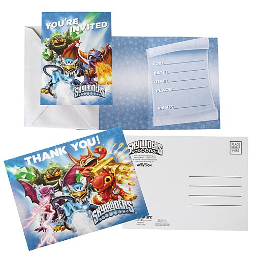 Skylanders Invite Thank You Note Cards (8 each) Invitations Birthday -