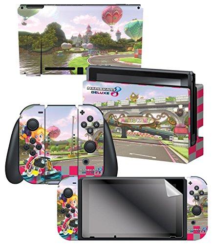 Nintendo Switch Skin   Screen Protector Set   Super Mario Kart 8  Princess Peachs Castle    Nintendo Switch