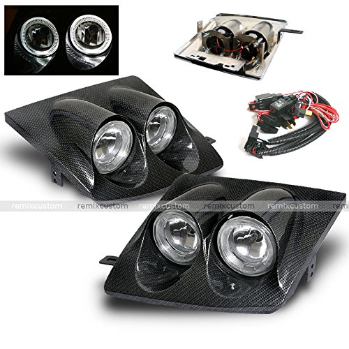 89 90 91 92 93 94 Nissan 240SX S13 Dual HALO Conversion Headlights Carbon Looks