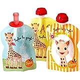 SQUIZ - 3 gourdes réutilisables Sophie la Girafe 90ml + 1 embout bébé SQUIZ'TOP – FABRICATION SUISSE