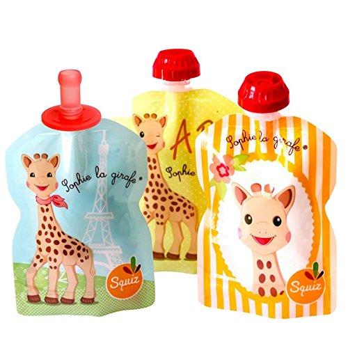 SQUIZ - 3 gourdes réutilisables Sophie la Girafe 90ml + 1 embout bébé SQUIZ'TOP – FABRICATION SUISSE SQUIZSLAG03TOP01