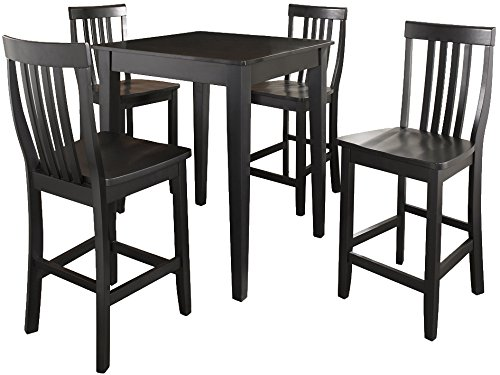 (Crosley Furniture KD520007BK 5-Piece Pub Set with Tapered Leg Table and Schoolhouse Stools, Black)