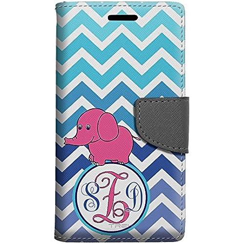 Monogram Samsung Galaxy S7 Edge Wallet Case - Chevron Teal Blue Elephant Sales