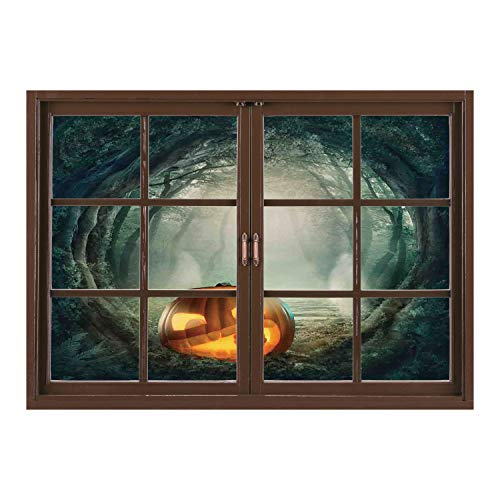 SCOCICI Wall Sticker,Window Looking Out Into/Halloween Decorations,Scary Halloween Pumpkin Enchanted Forest Mystic Twilight Party Art,Orange Teal/Wall Sticker -
