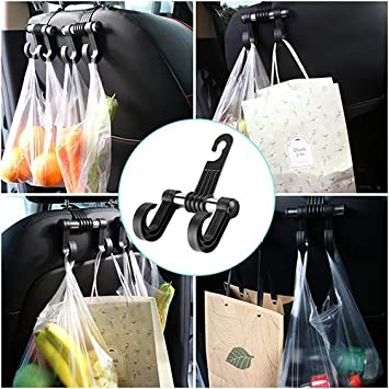 1 KOOABY Car Back Front Seat Headrest Hanger Holder Hooks for Purse Grocery Bag Cloth Coat Heavy Duty Purse Hooks Fit Universal Vehicle Trunk SUV Storage Organizer