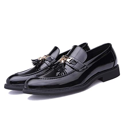 FuweiEncore Zapatos Formales de Charol para Hombre de Piel con Flecos Casual Oxford de 2018 para