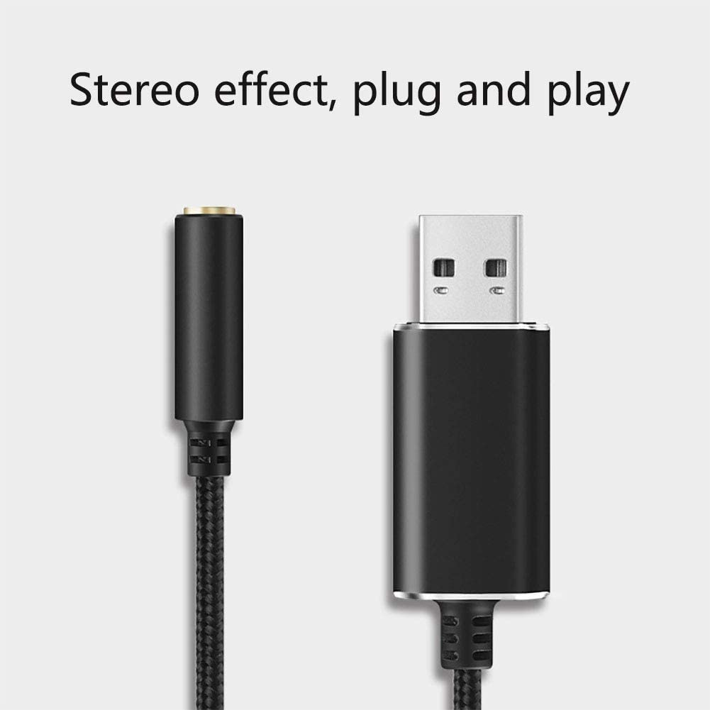Black,20 cm USB External Sound Card Audio Adapter 2 in 1USB to 3.5mm Headphone and Microphone Jack Audio Adapter with 3.5mm Combo Aux Stereo Converter for Headset Mac PS4 PC Laptop Desktops Windows