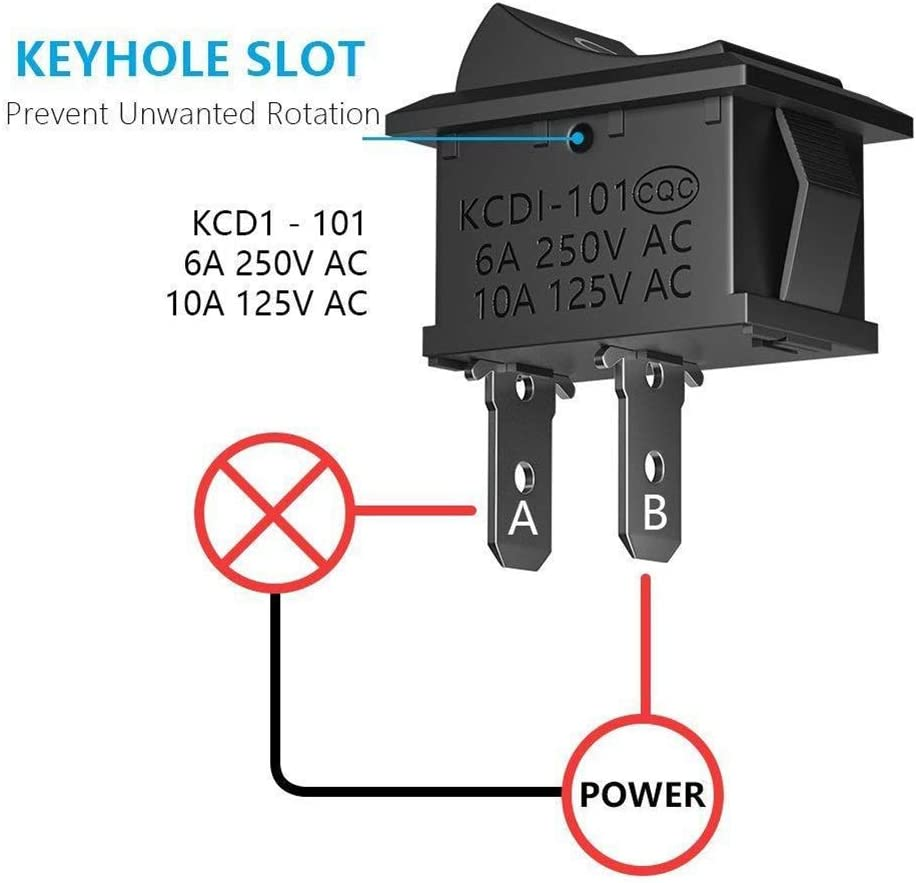 Interruptor basculante para Coche WOYAOY 20 Piezas de Interruptor basculante de Encendido//Apagado Mini Interruptor de Barco SPST Interruptor basculante Interruptor de Palanca de bot/ón de presi/ón