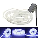 MUEQU LED Light Strip Outdoor, Waterproof Flexible LED Ribbon Solar Powered 16.4ft/5M SMD2835 100LED Mood Rope Lighting for Kitchen,Bedroom,Home decorative lighting,Party,Decoration Christmas (White)