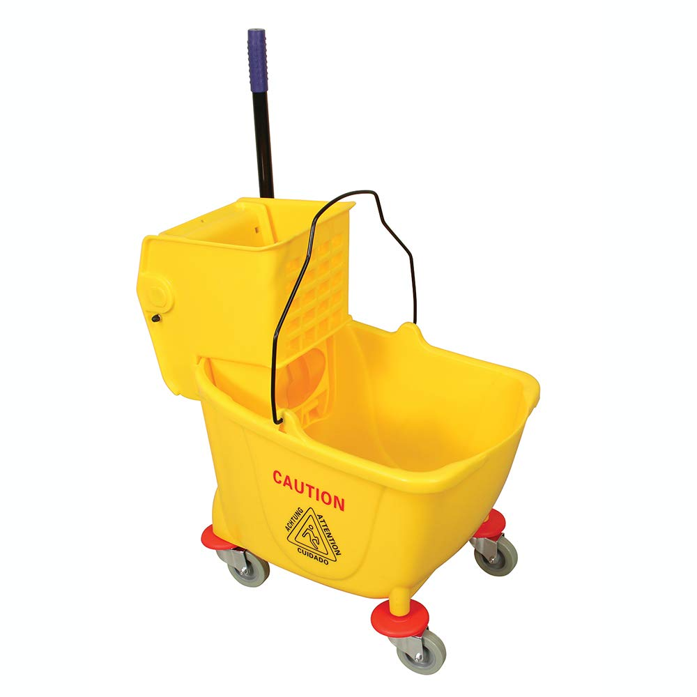Prime-Line MP46770 Mop Bucket & Wringer Combo, 35-Quart, Durable Plastic, High Visible Yellow, Pack of 1