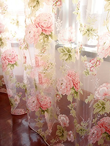 Rod Pocket Sheer Curtain, Elegant 2 Pieces - Total Size 120 Inch Wide (60 Inch Each Panel) - 84 Inch Long, Natural Light Flow, Pink Flower (Panels Sheer Print Curtain)
