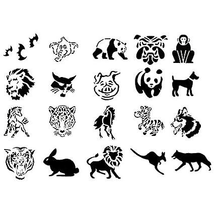 Amazon.com: Airbrush Tattoo Stencil Set 50 Book of 20 Animals Template