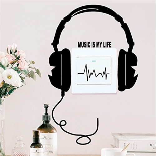 Jarsh Creative Music Is My Life Letter Wall Stickers for Bedroom Living Room Background Decorations Removable Stickers Home Decor