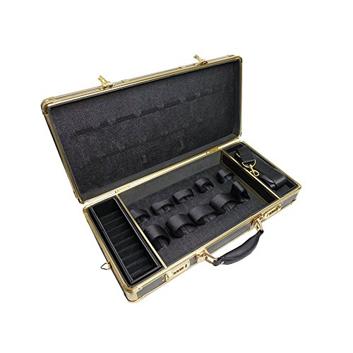 Price comparison product image Clipper Trimmer Organizer Black/Gold Frame Barber Case with Lock BB-530
