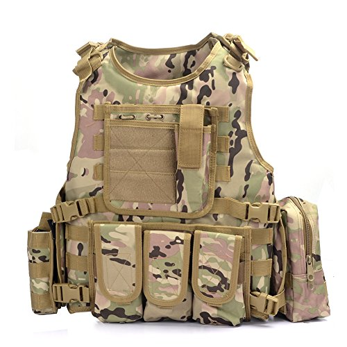 Yakeda Army Fans Tactical Vest Cs Field Swat Tactical Vest Army Fans Outdoor Vest Cs Game Vest Cosplay of Counter Strike Game Vest-322 (CP Camouflage)