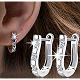 Sumanee 1 Pair 18K White Gold Filled Gemstones Crystal Women Hoop Stud Earrings Jewelry