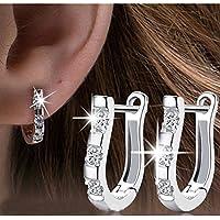 Sumanee 1 Pair 18K White Gold Filled Gemstones Crystal Women Hoop Stud Earrings Jewelry
