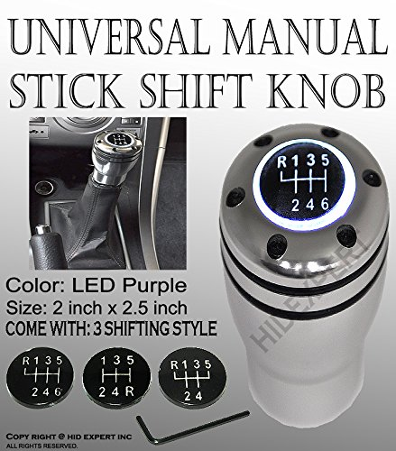 (ICBEAMER Racing New Shift Knob White LED Top-Glow Series Aluminum Silver Manual Car)