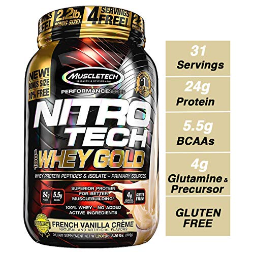 - MuscleTech NitroTech Whey Gold, 100% Whey Protein Powder, Whey Isolate and Whey Peptides, Vanilla, 2.2 Pound