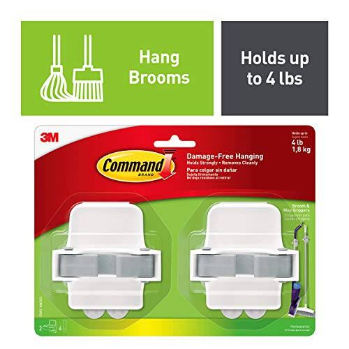 Command 08095001268 Broom, White, Indoor, 2 Grippers, 4 Strips, Value Pack (17007-HW2ES), Grey