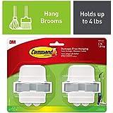 Command 08095001268 Broom, White, Indoor, 2 Grippers, 4 Strips, Value Pack (17007-HW2ES), Grey