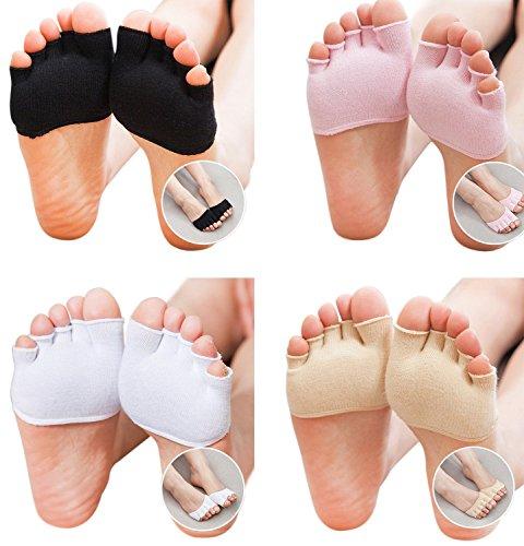 LOHOME Toe Socks, Cotton Non-Slip Women's Toe Toppers Socks Toe Separating Socks No-Show Half Socks Barre Pilates Yoga Half Palm Socks Ballet Grip Sock for Summer (4, Black+White+Pink+Skin Color.) (Flats Slings Shoes)