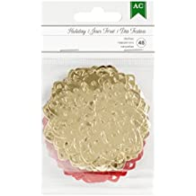 American Crafts 48 Piece Christmas Gold Foil & Multicolor Mini Doilies