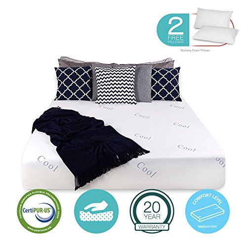 """Icon Sleep 12"""" inch COOL & GEL Memory Foam Mattress - Triple-Layered - Certipur-US Certified - Medium Firm - 20-Year Warranty - Queen - with FREE 2 PILLOWS from Icon Sleep"""