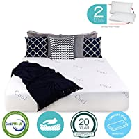 12 inch COOL & GEL Memory Foam Mattress - Triple-Layered - Certipur-US Certified - Medium Firm - 20-Year Warranty - Queen - with FREE 2 PILLOWS