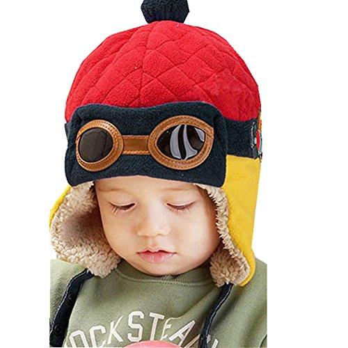 Beanie Pilot Cap, Misaky New Boys Winter Warm Hat Crochet Earflap Hats (Red)