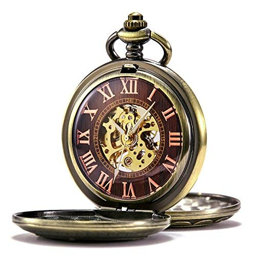 TREEWETO Mens Womens Antique Mechanical Pocket Watch Skeleton Bronze Case Steam Train Railroad Roman - Numeral White Roman Pocket Watch