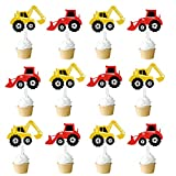 Amosfun Construction Truck Cake Toppers Excavator Cupcake Dessert Toppers Wedding Kids Birthday Party Favors 48 Pcs